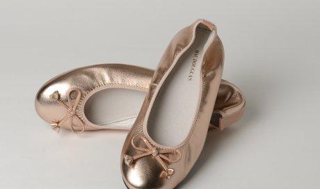 Ballerines Eliane cuir d'agneau rose poudré métallisé